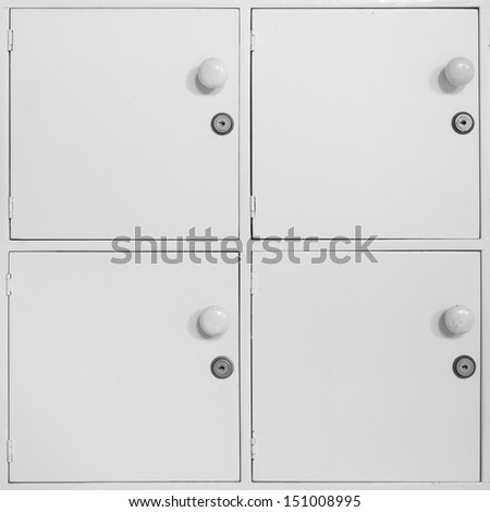 Storage lockers used by students on campus - stock photo