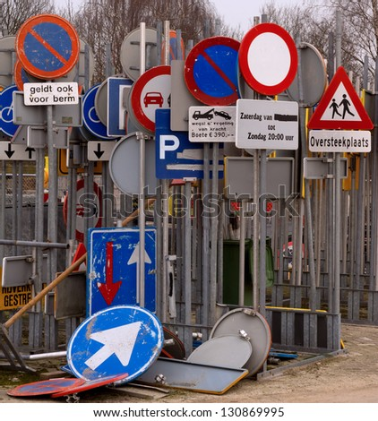 Storage of traffic signs in the Netherlands (dutch text) - stock photo
