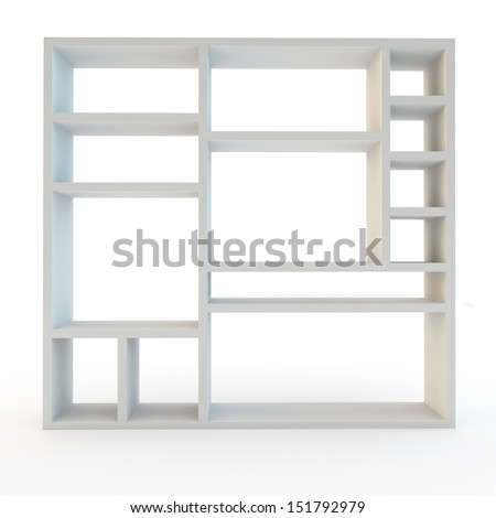 storage or shelving wall unit modern furniture on white background - stock photo