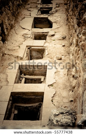 Storage room at Knossos Archeological Site in Crete, Greece - stock photo