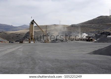 Storage silo at an asphalt batch plant, Nevada, USA - stock photo