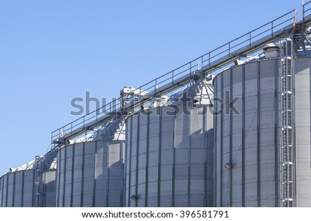 Storage tanks for cereals products over blue sky