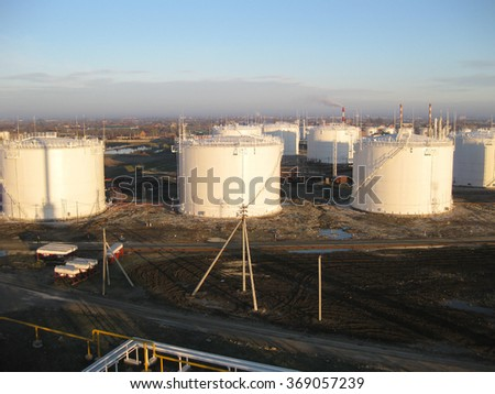 Storage tanks for petroleum products. Equipment refinery.                                - stock photo