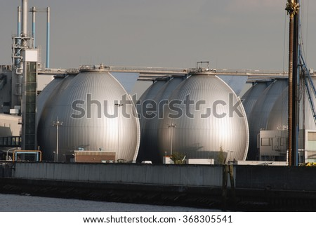 Storage tanks in Oil Depot - stock photo