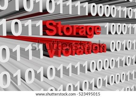 Storage violation in the form of binary code, 3D illustration