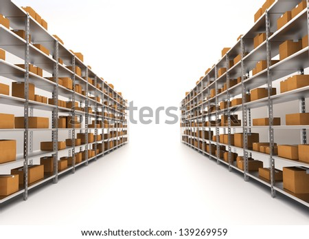 Storage/Warehouse Shelves isolated on white. industrial concept - stock photo