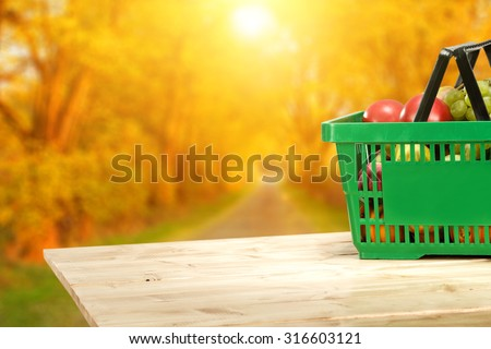 store basket on table  - stock photo