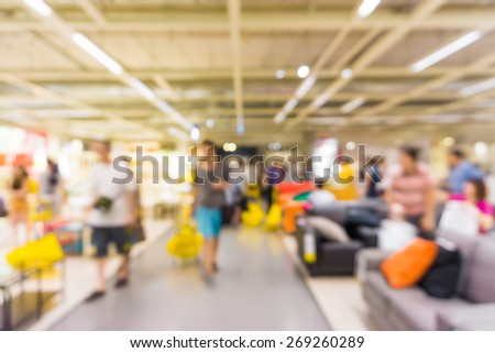 Store blur background with people, Furniture store - stock photo
