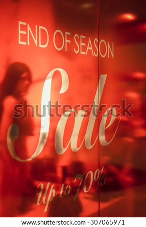 store end of season sale signs - stock photo