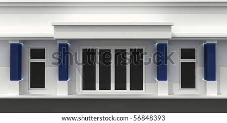 Store front exterior wall. Shop window empty for your product presentation, paste your shop, boutique, commercial. - stock photo