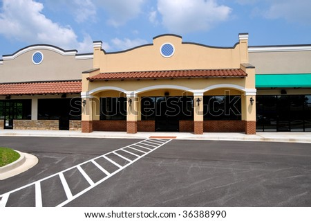 Store Front in a New Shopping Center - stock photo