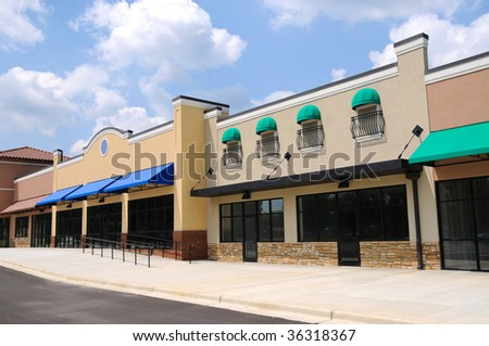 Store Fronts in New Shopping Center - stock photo