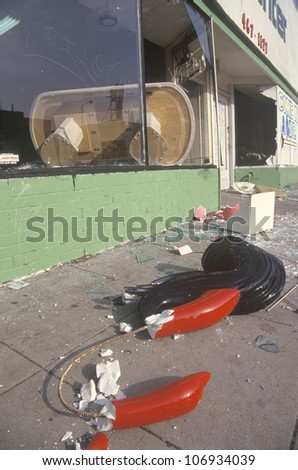 Store looted during 1992 riots, South Central Los Angeles, California - stock photo