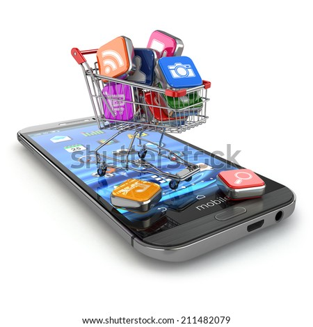 Store of mobile software. Smartphone apps icons in shopping cart. 3d - stock photo