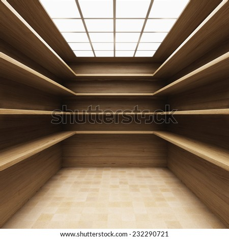 Store room in wooden style with shelves - stock photo