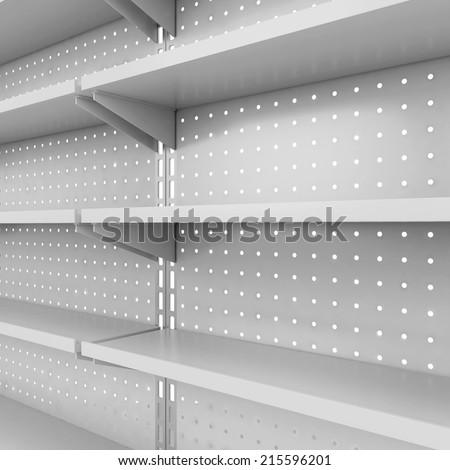 Store shelves. 3d illustration isolated on white background  - stock photo
