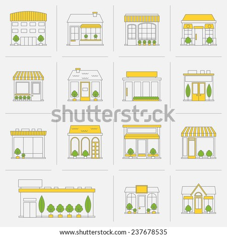 Store shop business buildings flat line icon set isolated  illustration - stock photo
