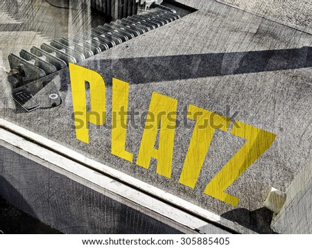 "store window with the german word ""Platz"" - space"