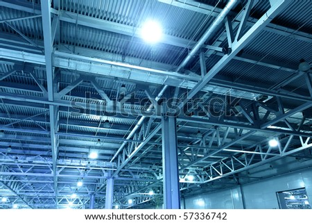 Storehouse toned in the blue color - stock photo