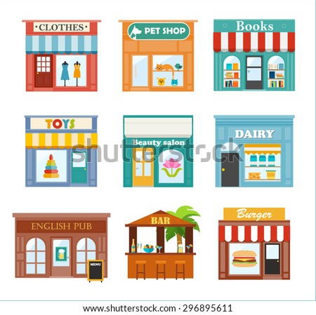 Stores And Shops Icons Set With Clothes Store Pet Shop Books Toys