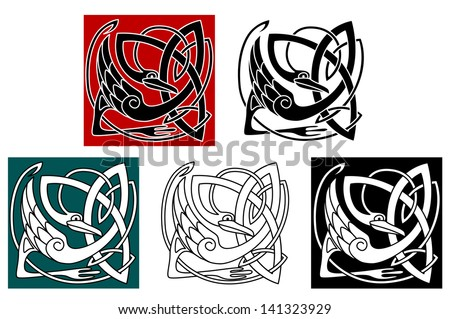 Stork bird in celtic ornament for embellishment or ethnic design. Vector version also available in gallery - stock photo
