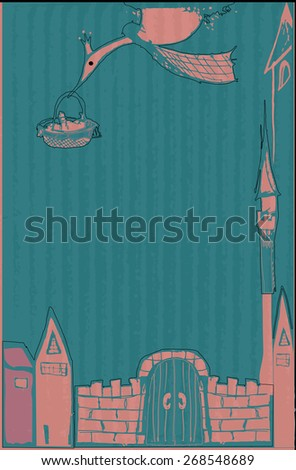 Stork carries a newborn child of his parents past the gates and towers of the castle, with the birth of girls, design baby greeting card with place for text - raster copy illustration - stock photo