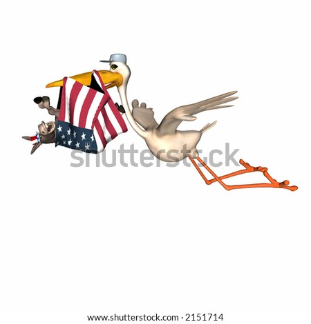 Stork delivering a new Democrat represented by a smiling donkey wrapped in the American flag. Isolated on a white background - stock photo