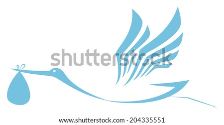 Stork delivering icon  - stock photo