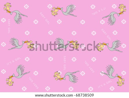 Stork Flying Delivering Newborn Infant Baby Girl Pink Wallpaper Illustration