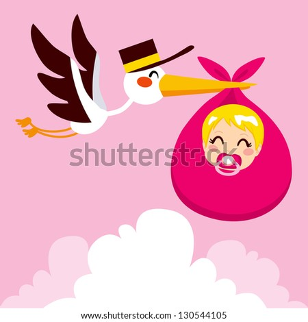 Stork flying with cute baby girl wrapped on pink blanket package for delivery - stock photo