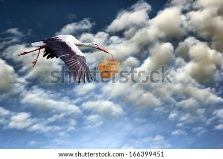 stork in flight bringing baby in basket on cloudy sky background - stock photo