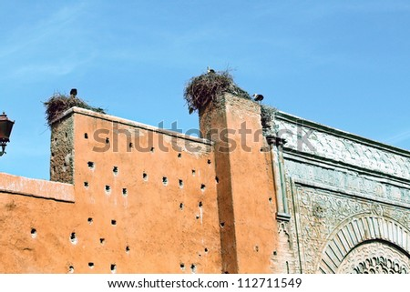 Storks and their nests on Bab Agnaou door, Marrakesh - stock photo