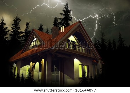 Storm Above the House. House Insurance Illustration. Dangerous Stormy Weather with Thunder Lightings Above the Home. 3D Render Illustration. - stock photo