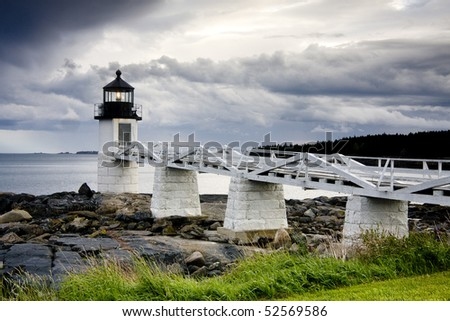 Storm approaching Marshall Point Lighthouse, Maine, USA - stock photo