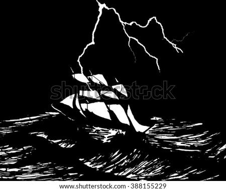 Storm at sea. Sailboat and lightning - stock photo
