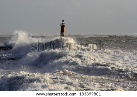 Storm at the mouth of Ave river, Vila do Conde, Portugal