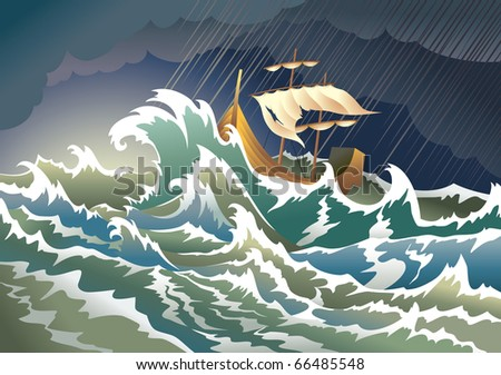 Storm at the sea, sinking ship, heavy clouds; raster from vector illustration - stock photo