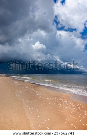 Storm clauds, seascape with dramatic clouds - stock photo