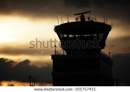 Storm cloud above Prague Ruzyne Airport, Czech Republic - stock photo