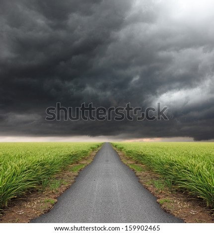 Storm cloud brewing in the horizon at the end of a long straight road through a green grassland.