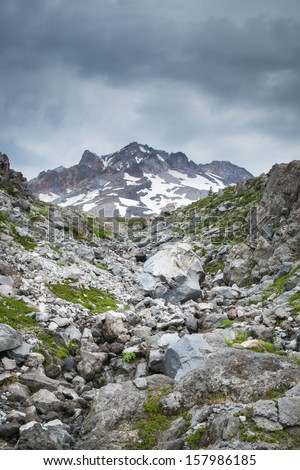 Storm clouds above Mt. hood in Oregon Cascades - stock photo