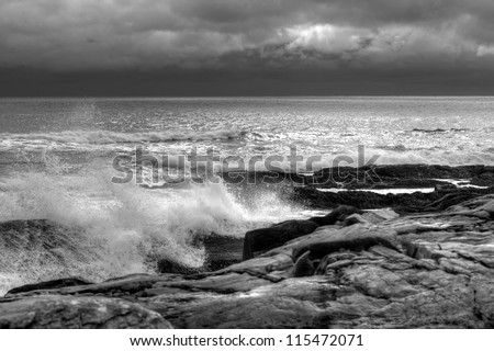 Storm clouds and waves along the Atlantic coast of Nova Scotia - stock photo