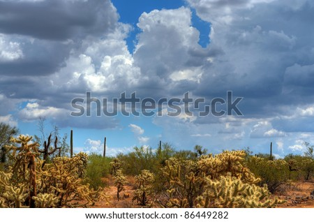 Storm clouds forming over the Arizona desert - stock photo