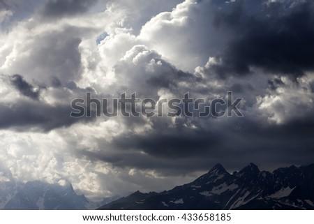 Storm clouds in mountains. Caucasus Mountains. Georgia, Svaneti. - stock photo