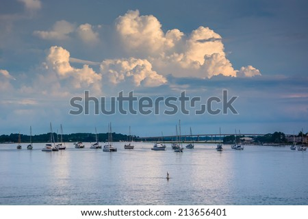 Storm clouds over boats in the Matanzas River, in St. Augustine, Florida. - stock photo