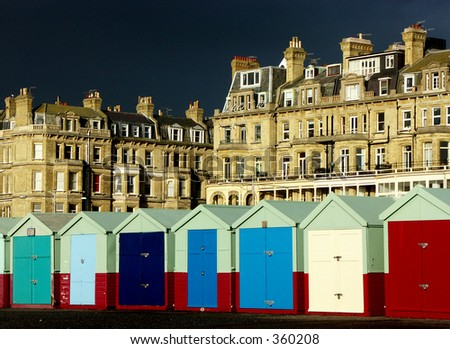 storm clouds over hove - stock photo