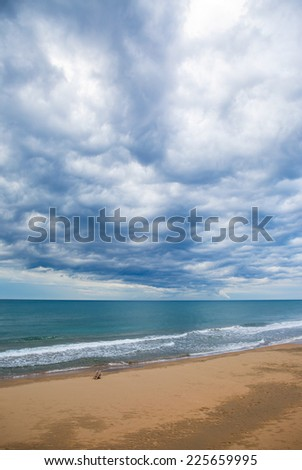 Storm clouds over sea - stock photo
