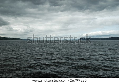 Storm clouds over the Puget Sound - stock photo
