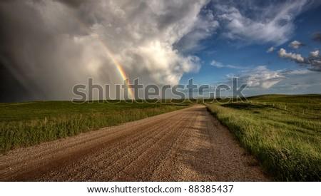 Storm Clouds Prairie Sky Saskatchewan Canada - stock photo