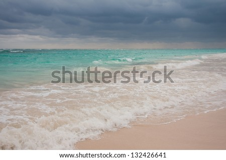 Storm coming on Punta Cana Beach, Dominican Republic - stock photo